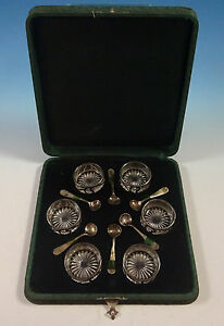 Antique By Alvin Sterling Silver Salt Cellar Set 12pc With Fitted Case 1343