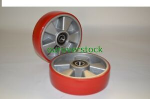 Pair Of Brand New Pallet Jack Steer Wheels Poly Tread Aluminium Core W bearings