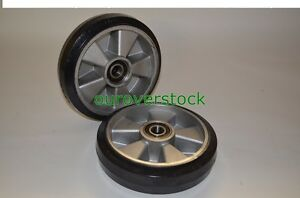 Pair Of Brand New Pallet Jack Steer Wheels Rubber Aluminium 8 X 2 W bearings