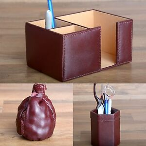 Leather Desk Set Office Organizer Brown Pen Holder Paperweight Teacher Gift