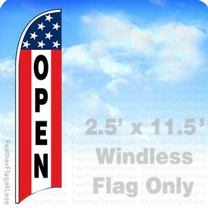 Open Windless Swooper Flag 2 5x11 5 Feather Banner Sign Stars 3 Stripe Rb