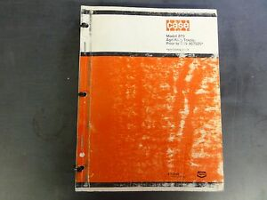 Case Model 870 Agri king Tractor Prior To S n 8675001 Parts Catalog B1116