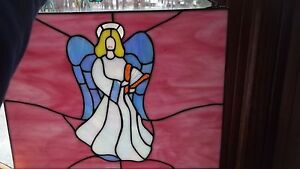 Vintage Slag Glass Pearlized Stained Glass Window Hanging Angel Harp Suncatcher