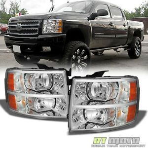 2007 2013 Chevy Silverado1500 2500 3500 Crystal Headlights Headlamps Left right