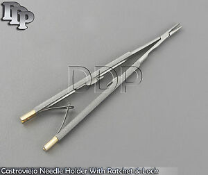 Castroviejo Needle Holder Tc 18 Cm With Ratchet Lock Dental Micro Instruments