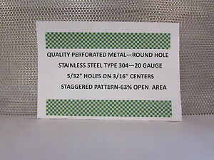 20 Gauge 304 Stainless Perforated Sheet 5 32 Holes On 3 16 staggered 24 X 24