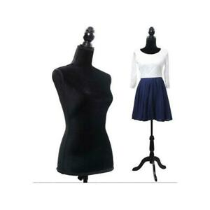 Adjustable Female Mannequin Dress Torso Clothing Display w Tripod Stand Black