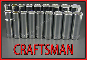 Craftsman Hand Tools 18pc 1 2 Deep Sae Metric Mm 12pt Ratchet Wrench Socket Set