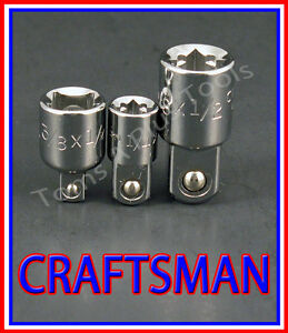 Craftsman Hand Tools 3pc 1 4 3 8 1 2 Ratchet Wrench Socket Drive Adapter Set