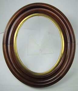 Antique Oval Wooden Picture Mirror Art Frame Brass Trim Exquisite Ornate Detail