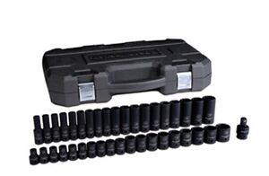 Gearwrench 1 2 Dr 6 Pt Metric Standard deep Impact Socket Set 39pc 84948n