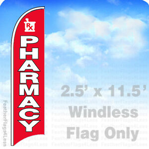 Pharmacy Windless Swooper Flag 2 5x11 5 Feather Banner Sign Rb