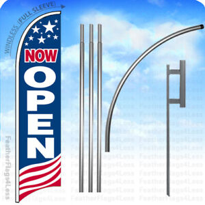 Now Open Windless Swooper Feather Flag 15 Kit Banner Sign Usa Bb