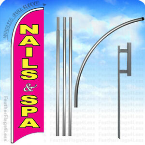 Nails Spa Windless Swooper Flag Kit Beauty Salon Feather Banner Sign 15 Pb
