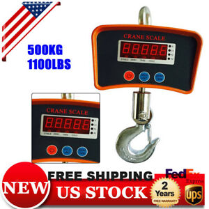 Digital Crane Scale 500 Kg 1100 Lbs Heavy Duty Industrial Hanging Scale Us Stock