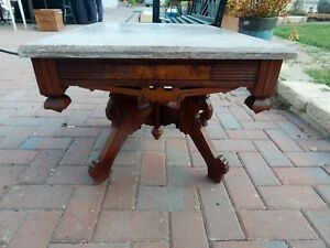 Victorian Table With Marble Top 18 25 H X 27 5 W X 20 D Accent Side Table