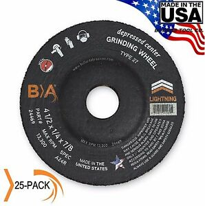 Metal Grinding Wheel 4 1 2 X 1 4 X 7 8 Depressed Center 25 Pack Bullard Usa
