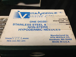 Vitaneedle Stainless Steel Reusable Non sterile Hypodermic Needles 19 Bag