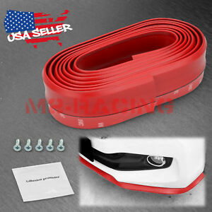Universal Red Pu Rubber Front Bumper Lip Splitter Spoiler Chin Body Air Wing Kit