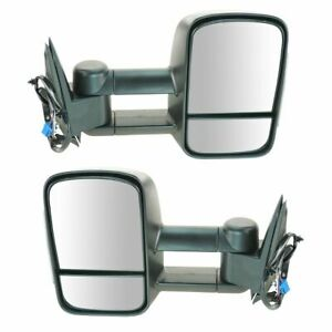 Side View Mirrors Power Heated Smoke Signal Towing Pair Set For 03 07 Chevy Gmc