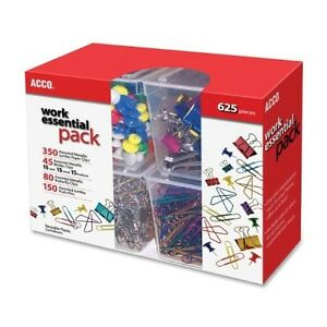 Acco Club Clip Pack 80 Ideal 45 Binder 350 Jumbo Paper Clips 150 Push Pins