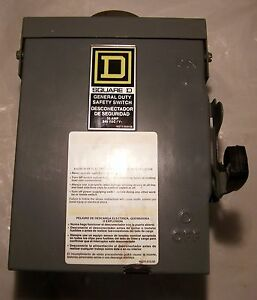 Square D General Duty Electric Safety Switch D321nrb 240vac 3 phase 30 Amp