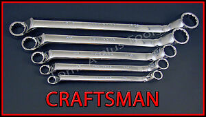 Craftsman Hand Tools 5pc Lot Full Polish Sae Deep Offset Box End Wrench Set