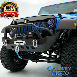 Black Stubby Rock Crawler Front Bumper winch Plate For 07 18 Jeep Jk Wrangler