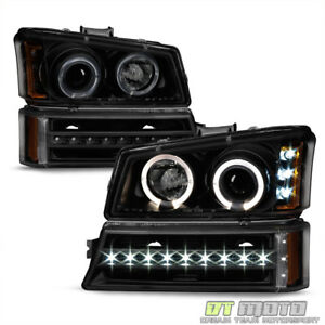 2003 2006 Chevy Silverado 1500 Black Smoke Led Halo Headlights Drl Bumper Lamps