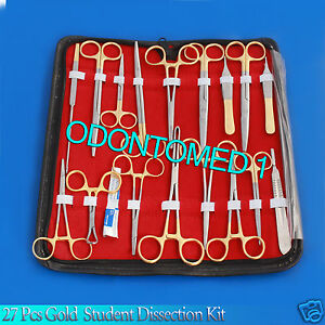 27 Pcs Gold Handle Student Dissection High Grade Kit scalpel Blades 22