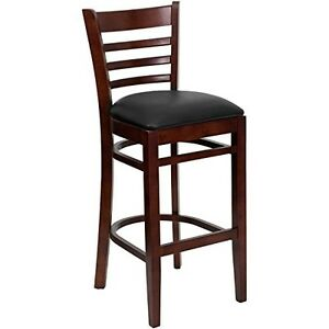 Hercules Series Mahogany Finished Ladder Back Wooden Restaurant Bar Stool