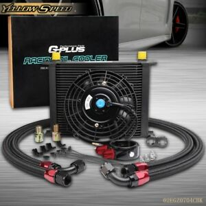 30 Row 10an Engine Transmission Oil Cooler Kit 7 Electric Fan Kit