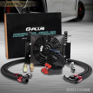 Universal 15 Row Engine Transmission 10an Oil Cooler 7 Inch Fan Kits
