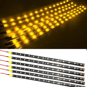 6pcs Amber 1ft 15 Led Car Motors Truck Bike Flexible Strip Light Waterproof 12v