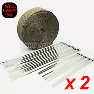 2 Rolls Titanium 2 50ft Exhaust Header Heat Pipe Wrap Tape Protector