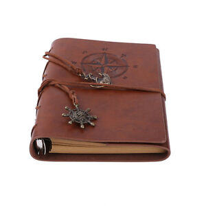 Leather Traval Writing Notebook Spiral Bound Daily Notepad Refillable Sketchbook