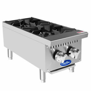 New 12 Hot Plate 2 Open Burner Gas Range Cook Top 2546 Commercial Atosa Nsf