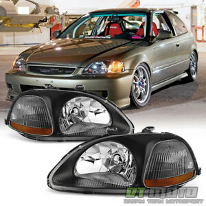 For Black 96 98 Honda Civic Dx Ex Lx Headlights Headlamps Replacement Left Right