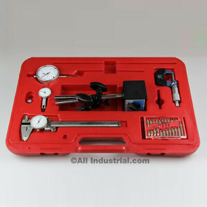 6 Pc Machinist Starter Set Caliper Micrometer Indicator Mag Base Rules In Case