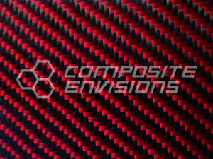 Carbon Fiber Panel Made With Kevlar Red 022 56mm 2x2 Twill 12 x48