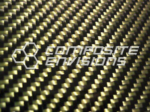Carbon Fiber Panel Made With Kevlar Yellow 056 1 4mm 2x2 Twill epoxy 12 x24