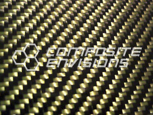 Carbon Fiber Panel Made With Kevlar Yellow 022 56mm 2x2 Twill 24 x48