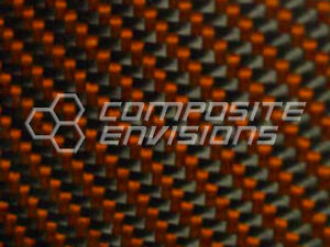 Carbon Fiber Panel Made With Kevlar Orange 156 4mm 2x2 Twill 12 x48