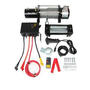 12000lb 12v Electric Recovery Winch Wireless Remote Trailer Rope Waterproof Atv