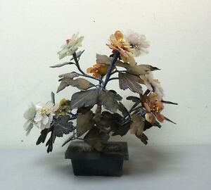 Vintage Chinese Jade Flower Tree Multi Petal Jade Flowers In Jade Pot