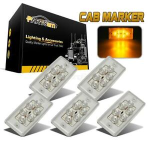 Set 5 Clear Cover Amber 6 Led Cab Marker Roof Running Top Light For Freightliner