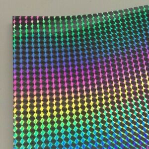 Long life Silver Holographic 1 8 Mosaic Prism Sign Vinyl 24 Inch X 30 Feet