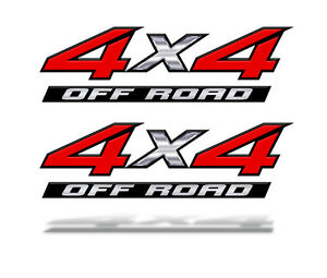 4x4 Off Road Red Decals Stickers Set Of 2 Truck Bed Graphics Mk001x4f