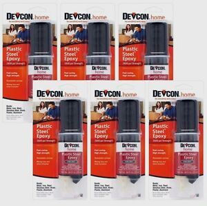 6 Devcon 62345 Home Plastic Steel Epoxy High Strength Adhesive Dark Grey 84oz