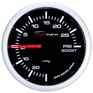 52mm Depo Racing Electric Turbo Boost Vacuum Gauge Psi White Ws 5201b